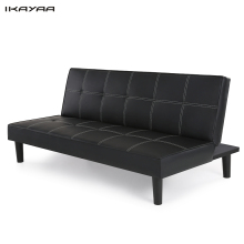 iKayaa US DE Stock Contemporary Faux Leather Futon Sofa Bed Sleeper Convertible 3 Seater Sofa Couch Back Adjustable Black(China)