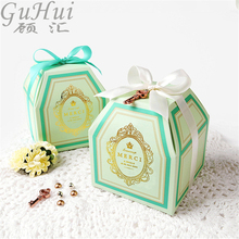 Luxury Golden Heraldic Pattern European Pink Green Candy Box Supplies Kids Birthday Wedding Party Decoration Baby Shower Xmas(China)
