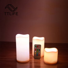TTLIFE 3Pcs Changed Color Remote Control Electric Candles Flameless LED Candle Cup Tea Light for Wedding Birthday Home Decor