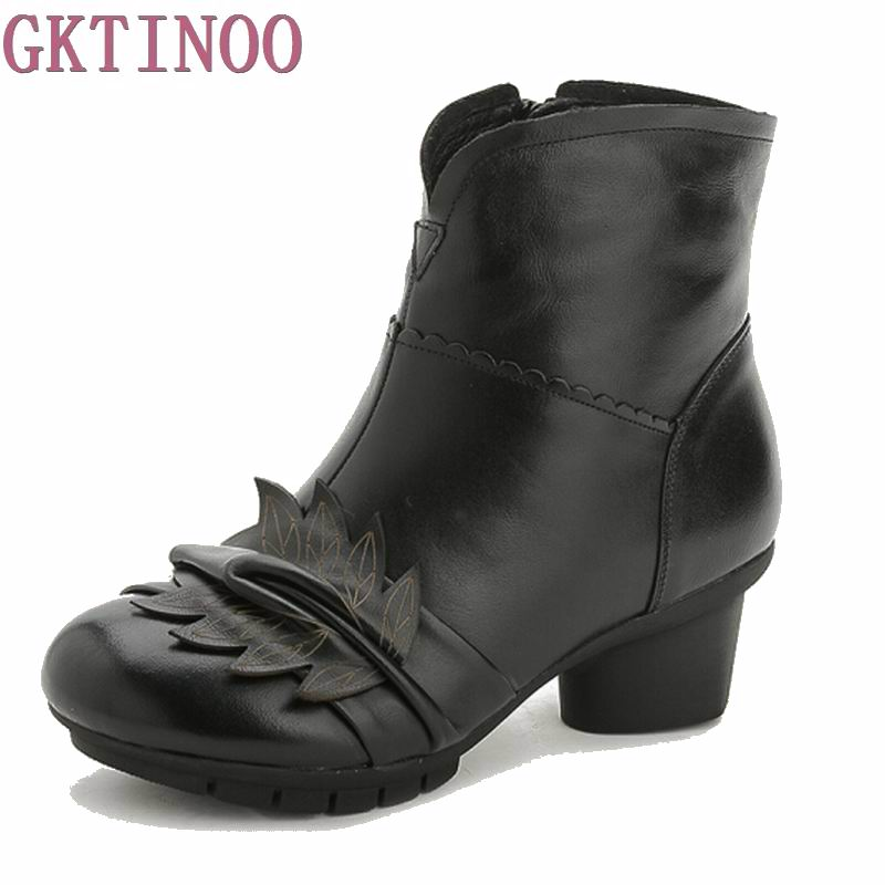 New Womens Fashion Winter Warm Genuine Leather Ankle Boots Women Zipper Floral Boots for Women Thick Mid Heels<br>