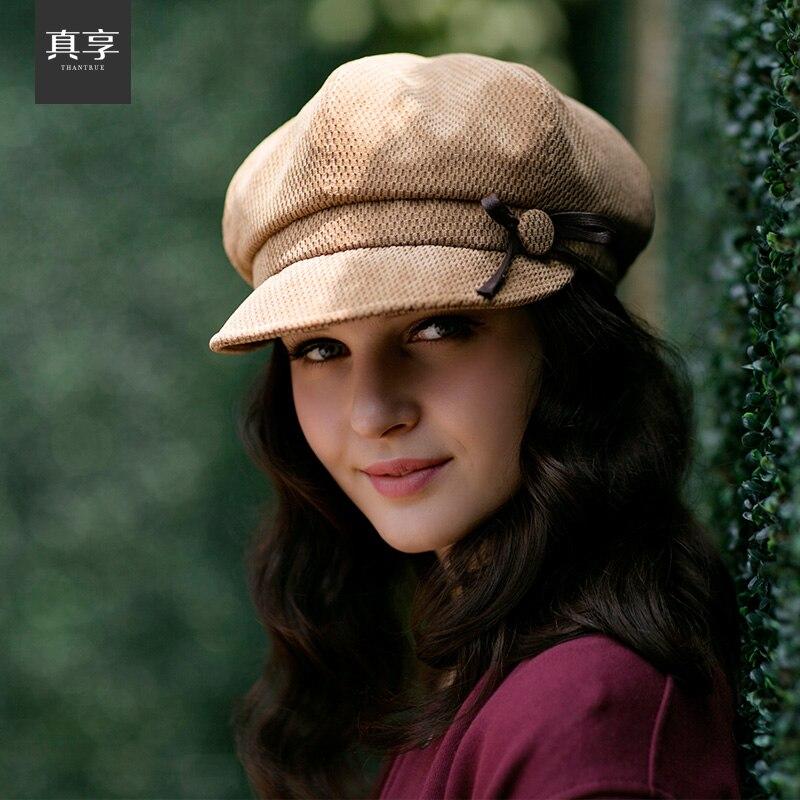 Lady Beret Hat Female Autumn and Winter Travel Cap Corduroy Personalized Fashion Octagonal Cap Bow Cap Painter Peaked Cap B-4596<br><br>Aliexpress