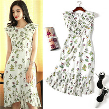 buy wholesale dresses hot sales wholesale dresses 2017 summer sleevele dress high quality women's ruffle pleated casual dresses(China)