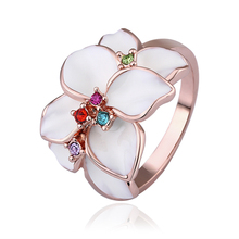 Colorful Crystal Jewelry Office Style Ladies Women Engagement Dating Bague Ring 18k Rose Gold Plated Flower Charms Rings YPR058