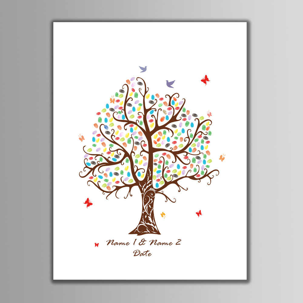 60*80cm Large Size DIY Fingerprint Wedding Tree Canvas Painting with Inkpad Kids Birthday Party Signature Guest Books