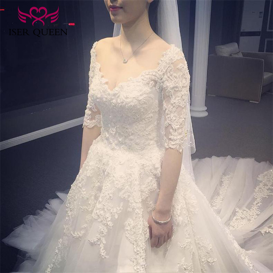 Half Sleeve Pearls beads Vintage A line Wedding Dress 2019 White color Court Train Embroidery Lace Tulle Wedding Dresses WX0134