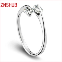 925 Sterling Silver Rings For Women Double Crystal Adjustable Rings Fashion High Quality Jewelry manufacturers, wholesale