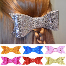 1PCS Dovetail Flash Scales Hair Hand Bows Girls Solid Grosgrain Ribbon Hair Kids Boutuique Hair Accessories Summer Style 2017(China)
