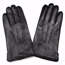 2017 New Guantes Leather Gloves Men's Sheepskin Water Stripes Style High-grade Imported Sheep Skin Sub-gloves Velvet Lining(China)