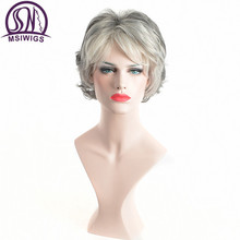 MSIWIGS Short Curly Synthetic Wigs for Elder Women American African Afro Hair White Grey Wig Heat Resistant
