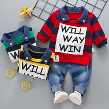 Kids Clothes Boys Set Striped Polo Shirt + Jeans Trousers Korean Children Clothing Baby Toddler Boys Clothing Set Letter Printed(China)