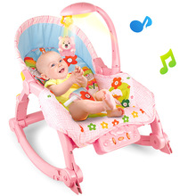 Baby Music Light Care Chair Newborns Folding Bed Baby Rocking Chair Baby Cradles Bed Portable Balance Baby Chair Infant Rocker(China)