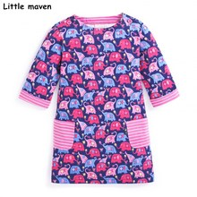 Little maven kids brand clothing 2017 autumn baby girls clothes Cotton elephant print girl A-line stripped pocket dresses S0275