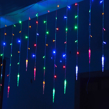 4m*0.7m 100 LED icicle Curtain Lights Christmas Led Icicle String Fairy Lights For Home Party Wedding Decoration(China)