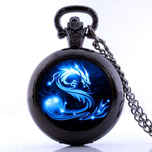 2017 Blue Dragon Pocket Watch Necklace Handmade glass dome Jewelry Long art Photo Necklace Charm Fantasy wing Dragon Jewelry(China)