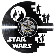 Fashion Creative Clock CD Vinyl Record Wall Clock Film STAR WARS Theme Home Decor 3D Hanging Watches Duvar Saat Home Decoracion(China)