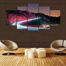 Print Painting For Living Room Home Decoration 5 Panel Road Cuadros Modular Pictures Night Poster Frame High Quality Canvas