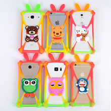 New Universal 3.7-5.8 inch Screen Silicone Frame 3D Cartoon Minnie Kitty Stitch Dora Mobile Phone Rubber Cover Case