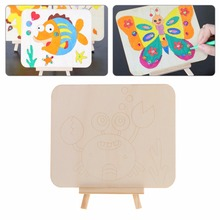 Kids Wooden Art Easel Stand Crab Pattern Drawing Board Shelf Painting Tool(China)
