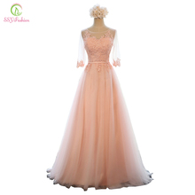 Evening Dress SSYFashion Banquet Sweet Pink Scoop Neck Half Sleeve Transparent Lace Embroidery A-line Long Prom Formal Dress(China)