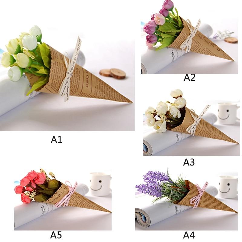 1 Букет Мини-Крафт-Бумага Simulaiton Цветок Лилии Декоративные Цветы Главная Свадьба Украшения Цветочный 189 см P20(China)