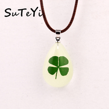 SUTEYI HOT Real Shamrock Four Leaf Clover Mix Necklace Glow Drop Shape necklaces Girl Lady Gift Boy St. Patrick's Day Present