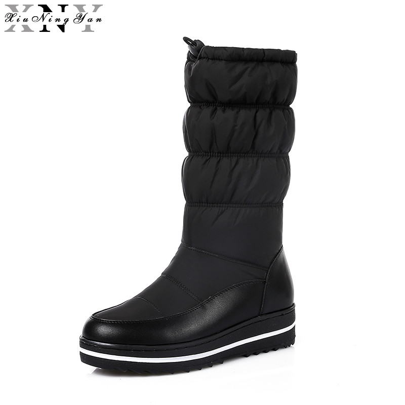 XiuNingYan Women Winter Boots Genuine Leather Russia Shoes Waterproof Boots Snow Boots Fur Platform Mid Calf Boots Size 35-44<br>