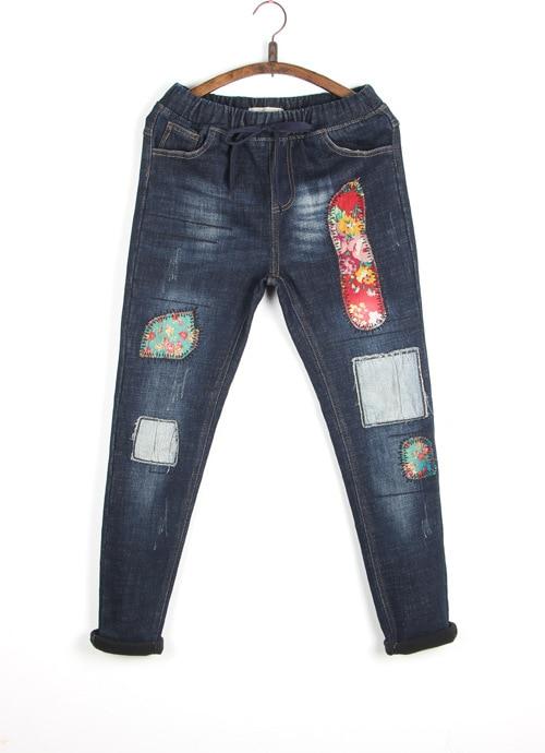 2017 New Fashion Autumn National Wind Style Loose Print Jeans Pants Long Denim Girls Student Long Patch Cloth Plus Velvet PantsОдежда и ак�е��уары<br><br><br>Aliexpress