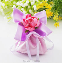 European style 50pcs/lot flower designed pink wedding candy box gift bags wedding supplies free shipping(China)