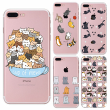 Lovely Cute Cat Cartoon Phone Cases For Apple iphone 6 6s 7 7 plus 5 Soft Sillicon Transparent TPU phone bags Back Cover fundas