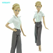 "Fashion Handmade Outfit Daily Wear White Shirt Pants Trousers Office Lady Clothes For Barbie FR Kurhn Doll 11.5"" 12"" Model Dress"