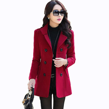 2017 Autumn Winter new fashion women wool coat double breasted coat elegant bodycon cocoon wool long coat Solid color tops LU304(China)