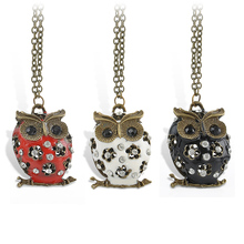2016 New Vintage Crystal Owl Pendant Neclace Long Sweater Chain Charms Animal Necklaces & Pendants For Women Fashion Jewelry(China)