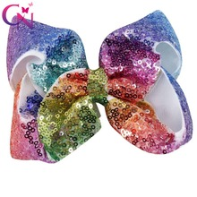 "10 Pcs/lot 5"" Rainbow Sequin Bow With Clip For Girls Kids Handmade Boutique Bling Bows Barrettes Hairgrips Hair Accessories"