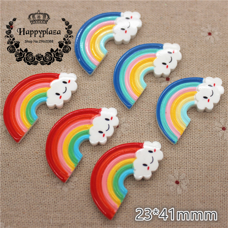 Hot 30pcs Resin Rainbow smile FlatBack stones Appliques Embellishment DIY crafts