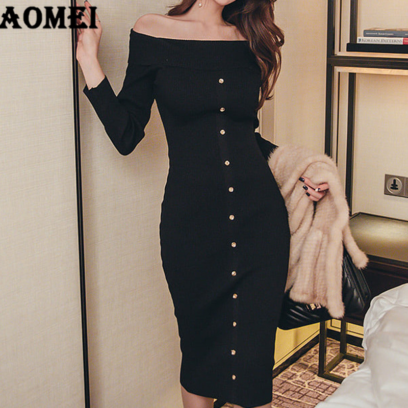 Slimming Sweater Dress Above Knee Knit Off Shoulder Elegant Korean Fall Bodycon Knitted Pullover Women Package Hip Robes Jumper