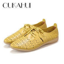 Spring\Summer 2017 New British Style Pointed Toe Flat Oxford Shoes Women Cow Split Leather Lace-Up Hollow Out Casual Shoes Woman