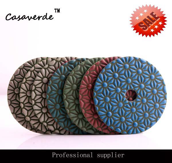 Free shipping 4 inch premium quality angle grinder diamond stone dry  pads for polishing countertop<br>