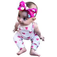 Newborn Baby Girl Romper Summer Baby Girls Straps Love Heart Print ed Floral Romper Jumpsuits Baby Kids Girls Clothes 0-24M(China)