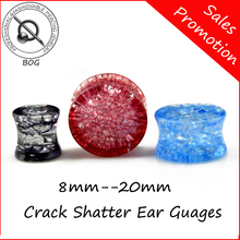 BOG-1 Pair Shatter Crack Ear Gauges Double Flare  Acrylic  Ear Saddle Plugs Tunnels Expanders Earlet Piercing Body Jewelry