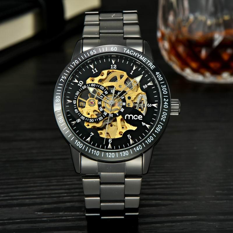 MCE Luxury Watch Men Gun Black&amp;Silver Mechanical Wristwatch Automatic Gold Skeleton Watches Men Business Clock Relogio Hour.<br><br>Aliexpress