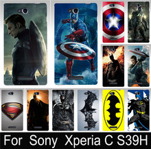Top Selling Captain America Batman PC Hood Phone Cases Covers For SONY Xperia C S39H C2305 Case Cover Shell Sleeve Free Shipping