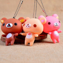 2016 Hot Sale Cartoon Bear Doll Keychains 5pcs/lot Environmentally Vinyl Pendant Key chain For Bag/car/phone Charm Gift Key Ring