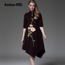 High-end Autumn & winter dress vintage embroidery loose red dress elegant lady knited midi Mink cashmere sweater dress S-XXXL(China)