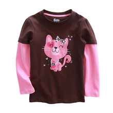Retail Children t Shirts Kids Cat t-shirt Girls Girls Long Sleeve T Shirt Child Clothing Kids Shirts Cuddle me Brand(China)