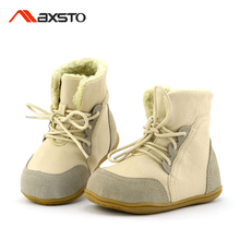 2017 New Girls Boots Winter Kids Boys Sonw Boots Children Winter Boot Genuine Leather Warm Plush Fashion Baby Kids Martin Shoes
