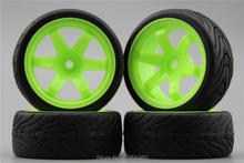 4pcs RC 1/10 Soft Rubber Touring Car Tire Tyre Wheel Rim W6SNG 6mm Offset(Material Green) 10004(6)+Rubber Tire