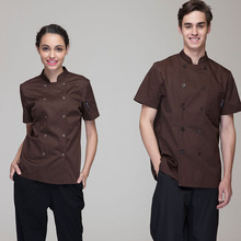 Fashion Men Women Chef Jackets Coats Uniforms Short Sleeves High Quality Coffee and Navy Color