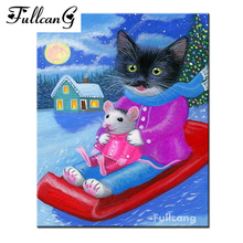 FULLCANG mosaic diamond embroidery cat ski diy 5d diamond painting cross stitch cartoon full square rhinestone needlework E1024(China)