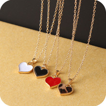 NA147 Simple Pure Red White Black Gold Overlay Loving Heart Short Chain Necklaces Water Wave Chain Women Fashion Jewelry Bijoux