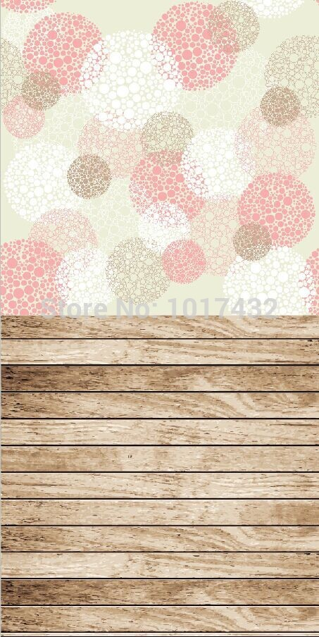 5x10ft(1.5x3m) newborn photography background backdrop printed with bokeh polka dot and light brown wood floor plank Z-80<br>